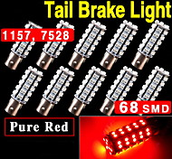 10x BAY15D 1157 Red Car Tail Stop Brake Light Super Bright 68 SMD LED Bulb 12V