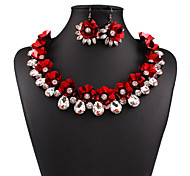 Womens Brand Design Rhinestone Flowers Statement Necklace and Earring Jewelry Set