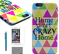 LEXY® Sweet Home Pattern Hard PC Back Case with 9H Glass Screen Protector and Stylus for iPhone 5C
