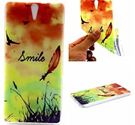 Smiling Face Feathers Words Phrase Pattern 0.6mm Ultra-Thin Soft Case for Sony C5