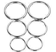 30mm 25mm 20mm Zinc Alloy Flat Key Ring Set - Silver (3 Sets)