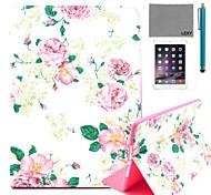 lexy® rosa patrón de flores de la PU del caso del soporte del tirón del cuero con protector de pantalla y el stylus para ipad aire 2 /