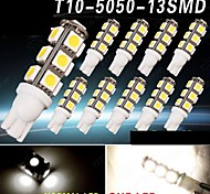 10 X Warm White 13SMD 5050 T10 RV Reverse LED Lights W5W 2825 158 192 168 12V