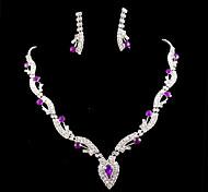 Lucky Doll 925 Silver Plated Gemstone & Crystal Zirconia geometry Heart Tassel Necklace & Earrings Jewelry Sets