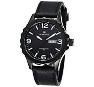 NAVIFORCE® Men's Date Week Display Genuine Leather Strap Sports Watches