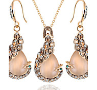 Hot Fashion Vintage Opal Peacock Pendant Necklace Drop Earring Jewelry Set