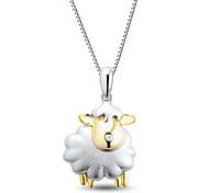 damesmode sterling zilver bezet met diamanten schapen hanger met zilveren box ketting
