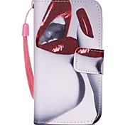 Red Lip Pattern PU Leather Material Flip Card Phone Case for iPhone 4/4S
