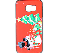 Christmas Tree and Snowman and Gift Pattern PC Hard Back Cover Case for Samsung Galaxy S6