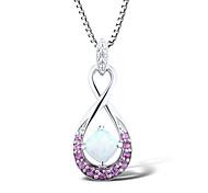 damesmode sterling zilveren set met gecreëerd opaal \ roze saffier \ diamanten hanger met z box ketting