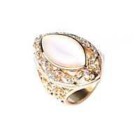 Opal Diamond Ring Hollow Retro Silver Jewelry