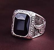 New Vintage Men Women's Black Red Square Gem Geometric Ring
