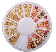 100PCS Colour Mixture and Beige Edge Pearl Nail Jewelry Decoration 4mm