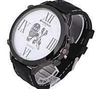 Men's Fashion Big Dial Skull Pattern Rubber Strap Quartz Watch