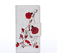 White Background Red Flower Painted PU Phone Case for Galaxy J5/J3/Galaxy On5