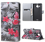 Red Flowers Wallet PU Leather Stand Case for  Microsoft Nokia Lumia 950XL N950XL