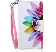 modello di fiore sole cassa di carta PU cordicella per iphone 6 / 6s