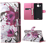 Purple Flowers Wallet PU Leather Stand Case for  Microsoft Nokia Lumia 950XL N950XL