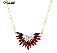 D exceed Lady Fashion Jewelry Wholesale European Design Long Rhinestone Acrylic Flower Pendant Necklaces for Ladies