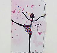 menina dança pintado caso de telefone pu para Huawei p8