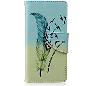 Feather Painted PU Phone Case for Sony Xperia M2/M4