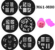 - Finger / Zehe - Andere Dekorationen - Metall - 20pcs nail plates+ 1set nail stamper and scraper Stück - 5.5cm for dia cm