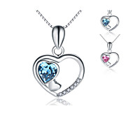 """Jazlyn® Platinum Plated 925 Sterling Silver Swaroski Crystal """"Only Love You"""" Heart Pendant Women's Necklace"""