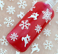 12pcs Christmas White Snowflake Snowman Series Nail Sticker