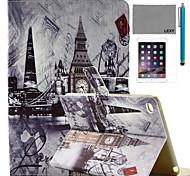 lexy® pared reloj en Modelo de la azotea de la PU del caso del soporte del tirón del cuero con protector de pantalla y el stylus para iPad