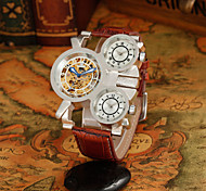 Men's  Outdoor Sports Three Time Zones Full Automatic Round Dial Leather Band Machine Analog Wrist Watch(Assorted Color)