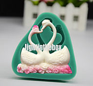 Valentines Loving Swan Couple DIY Silicone Chocolate Pudding Sugar Ice Cake Mold Color Random