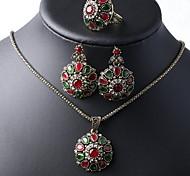 Retro Costume Necklaces +Rings +Earring Jewelry Sets(4pcs)