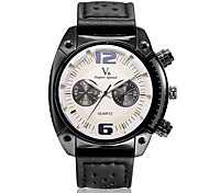 Men's Military Style Leather Strap Quartz Casual Watch