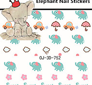 1pcs Cute Elephant Nail Stickers