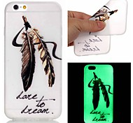 New Feather Pattern TPU Material Luminous Phone Case for iPhone 5/5S