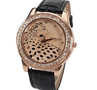 A628 Quartz Watch with 12 Small Diamond Dots Indicate Leather Watch Band Leopard Pattern Dial for Women