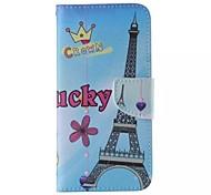 Cartoon Eiffelturm-Muster Handy Leder für Samsung Galaxy Note 5