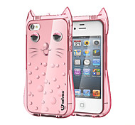Cute Lovely Cat Protective Hard TPU Cover Case for Apple iPhone 4/4S (Assorted Color)