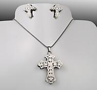 European and American fashion titanium steel silver cross Zircon Pierced Earrings Necklace Set
