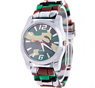 Paragraphs Male Female Fashion Pattern Circular Camouflage Silica Gel With Chinese Movement Wrist Watch(Assorted Colors)