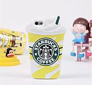 venta caliente de la cubierta 3d caja de la taza de café Starbuck silicio de la historieta para el iphone 6 más / 6s más