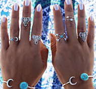 European Style Fashion Multi-element Turquoise Elephant Ring Set