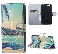 Anchor and Trees Card Holder Leather Stand Case for Wiko Rainbow Jam