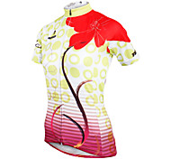 ilpaladinoSport Women Short Sleeve Cycling Jersey New Style Distinctive  DX587  Red flowers  100% Polyester