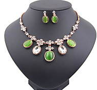 May Polly European fashion opal Acrylic Crystal Necklace Earrings Se