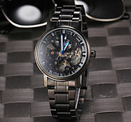 Men's Fashion Black Skeleton Auto Mechanical Watch