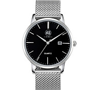 AIBI® Men's Fashion Watch Calendar Water Resistant Fabio Los Angeles Black Silver Business Desinger Dress Watch For Men Wrist Watch With Watch Box