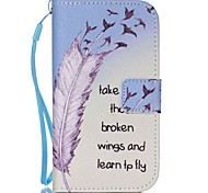 Feather Pattern PU Leather Material Flip Card  for Samsung Galaxy Grand Prime/ Core Prime