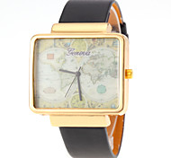 Unisex World Map Pattern Square Dial PU Band Quartz Watch