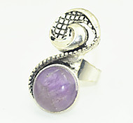 Vintage Look Antique Silver Turquoise Amethyst Tiger Stone Adjustable Free Size Ring(1PC)
